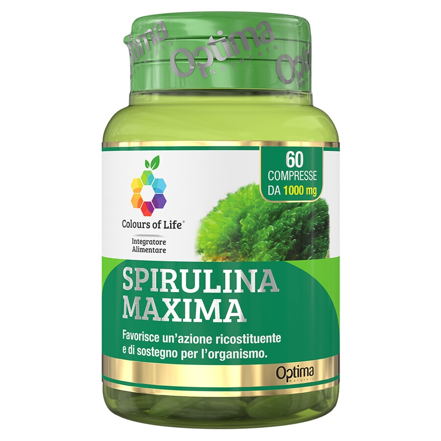 Image of Optima Naturals Colours Of Life Spirulina Maxima - Integratore Di Spirulina Integratore Alimentare