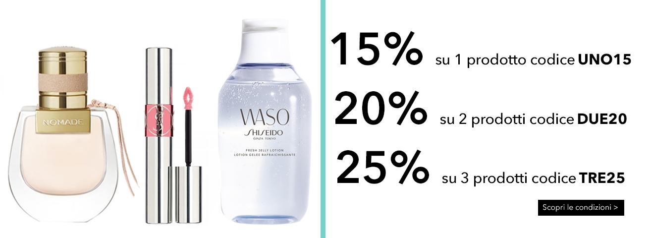 15% 20% 25% sull'acquisto di 1-2-3- prodotti